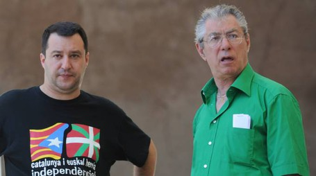Umberto Bossi con Matteo Salvini (Newpresse)