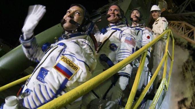 I membri dell'equipaggio della Soyuz (Olycom)