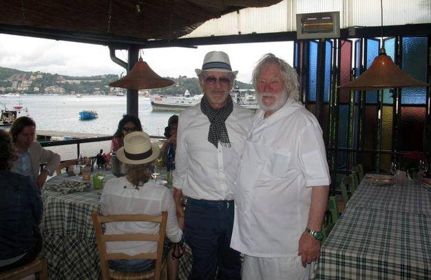Spielberg con il ristoratore Giuseppe Basso