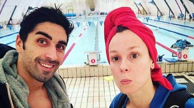 Selfie di Filo e Fede nella piscina del parco della pace (da instagram)
