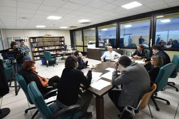 La riunione di redazione del Quotidiano Nazionale (Foto Schicchi)