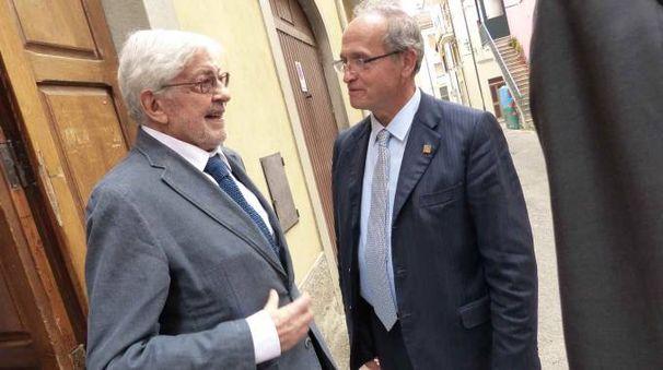 Ettore Scola con il sindaco di Pieve Bragagni