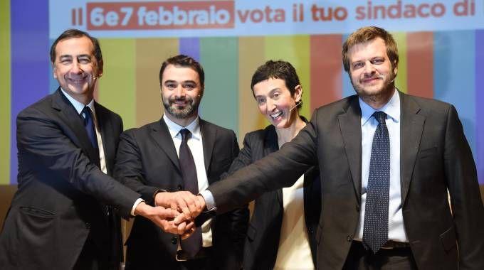 Giuseppe Sala, Antonio Iannetta, Francesca Balzani e Pierfrancesco Majorino (Newpress)