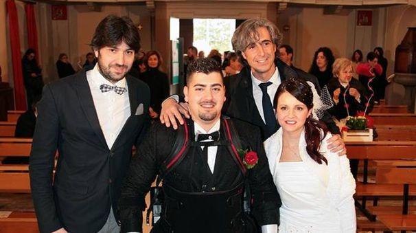 Michele Storoni con la moglie Raffaella e i medici Paolo Milia e Riccardo Bruschi