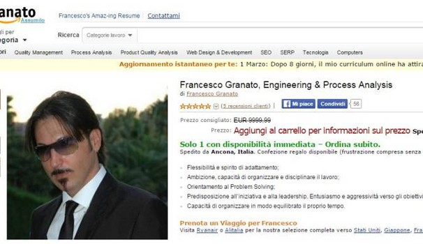 Il curriculum con grafica Amazon di Francesco Granato