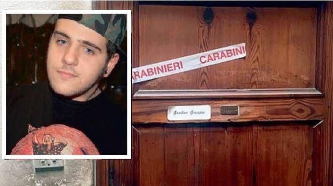 L'ingresso della casa a Saltocchio e il 20enne Andrea Gambino