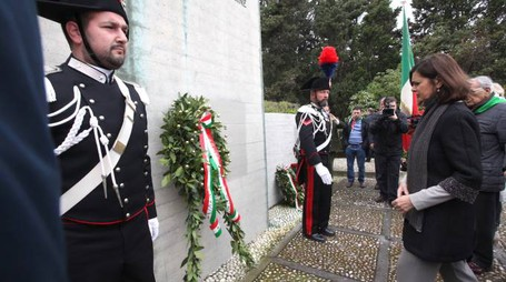 laura boldrini in visita,il monumento del pincio