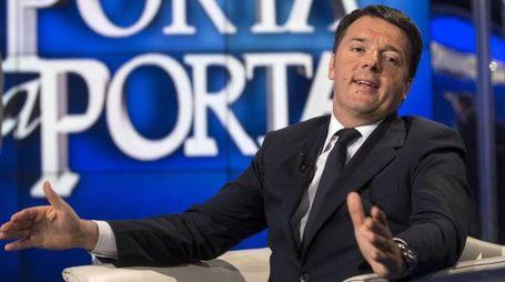 Il premier Renzi a Porta a Porta (Ansa)