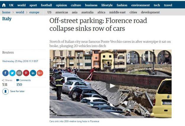 """Voragine lungarno Torrigiani a Firenze,  la notizia sui media internazionali: """"The Guardian"""""""