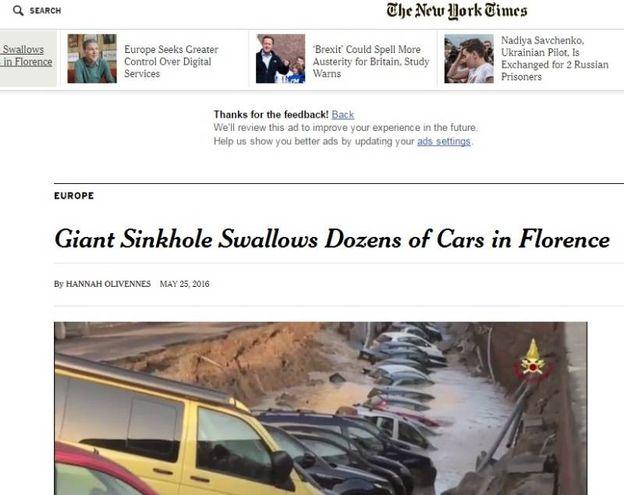 """Voragine lungarno Torrigiani a Firenze,  la notizia sui media internazionali: """"New York Times"""""""