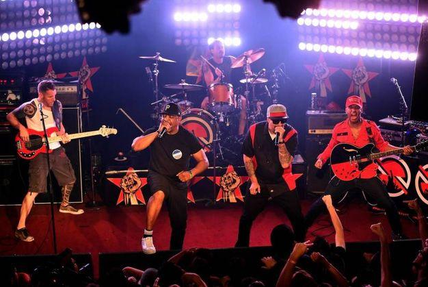 Prophets of Rage: Tom Morello, Tim Commerford e Brad Wilk, per la parte Rage, Chuck D dei Public Enemy e B-Real dei Cypress Hill (Afp)