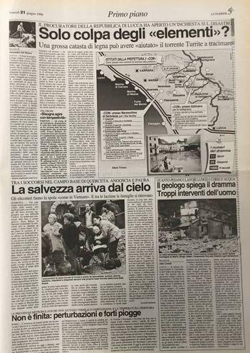 Così La Nazione raccontò la tragica alluvione del 1996 in Versilia