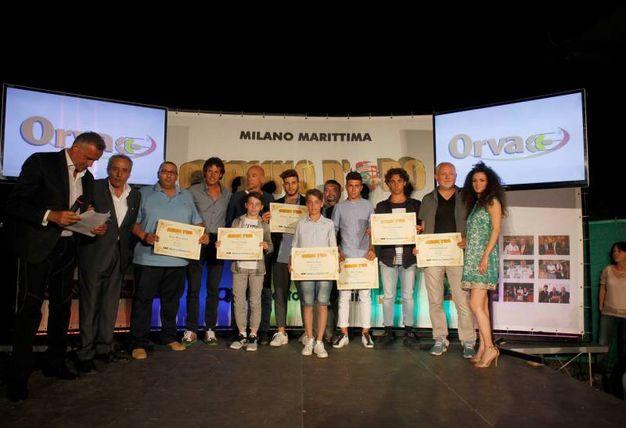 Carlino d'Oro 2016, i premiati di Ravenna: Enrico Mazzolani, Alex Caon, Niccolo Gavagna, Enrico Tura, Luca Mercuriali, Stefano Galeotti e Luca Casadio (foto Corelli)