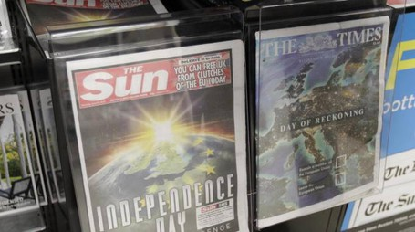 The front pages of the Sun and The Times newspapers reporting on the EU referendum on a news stand in Westminster, London, Thursday, June 23, 2016.Voters in the United Kingdom are taking part in a referendum that will decide whether Britain remains part of the European Union or leaves the 28-nation bloc. (ANSA/AP Photo/Tim Ireland) [CopyrightNotice: Copyright 2016 The Associated Press. All rights reserved. This material may not be published, broadcast, rewritten or redistribu]