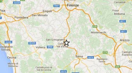 L'epicentro del terremoto in provincia di Siena