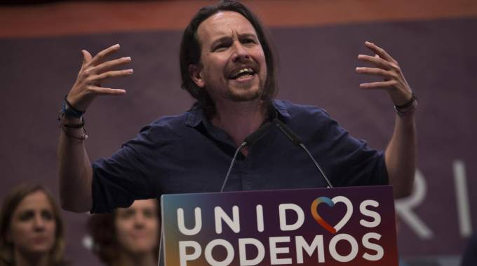 Il leader di Podemos Pablo Iglesias (Ansa)