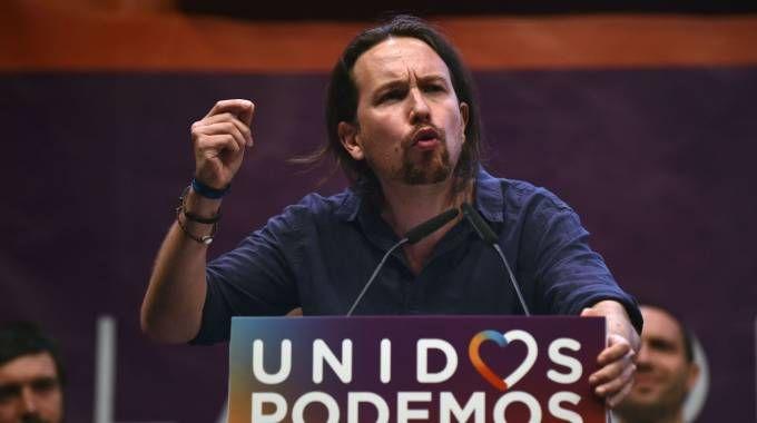 Pablo Iglesias, leader di Podemos (Afp)