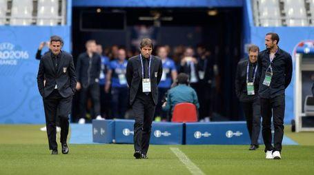 La Nazionale italiana in attesa della sfida con la Spagna (Lapresse)