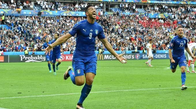 La gioia di Pellè dopo il gol contro la Spagna