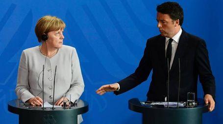 Angela Merkel e Matteo Renzi (Afp)