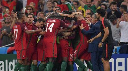 l'esultanza portoghese al gol di Renato Sanches