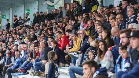 Il pubblico affolla la Castellina in attesa di rivedere un Sondrio vincente (Nat. P.)