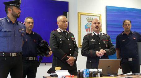 SEQUESTRO Il materiale posto sotto sequestro dai carabinieri. Nella foto in alto il capitano Davini e il maresciallo Mangone (Zani)