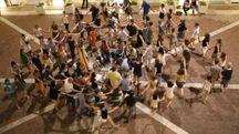 Uno dei momenti di prove del Festival di Musica antica nel cortile del Collegio Raffaello di Urbino