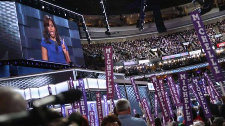L'intervento di Michelle Obama alla convetion democratica (Afp)