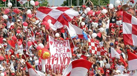 tifosi del rimini calcio esultano insieme ai caslciatori la vittoria per la promozione in serie c1