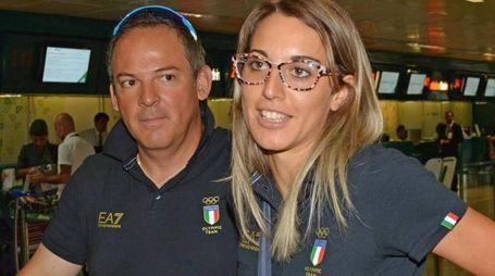Jessica Rossi e Giovanni Pellielo in partenza per le Olimpiadi di Rio de Janeiro assieme alla Nazionale azzurra Tiro a Volo,  Fiumicino (Roma), 25 Luglio 2016. ANSA/ TELENEWS