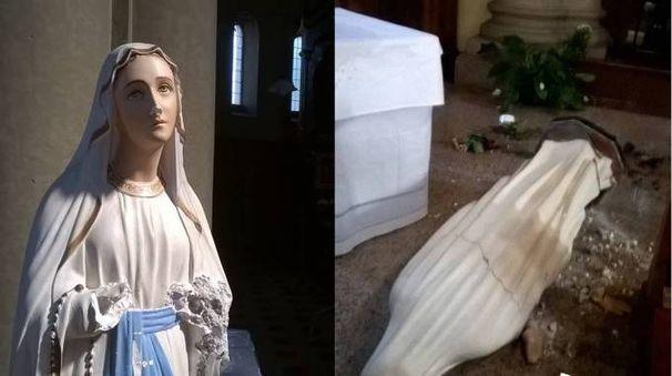 La statua della Vergine sfregiata