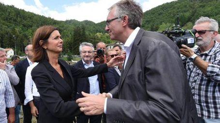 Laura Boldrini e il presidente delle Marche Luca Ceriscioli (foto Ansa)