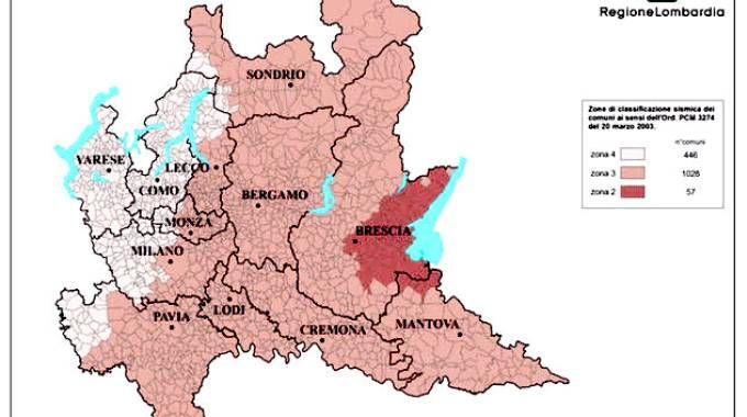 Mappa sismica della Lombardia