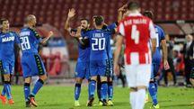 I giocatori del Sassuolo festeggiano (Foto Ansa)