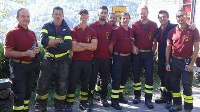 Il gruppo dei vigili del fuoco reggiani sul sisma