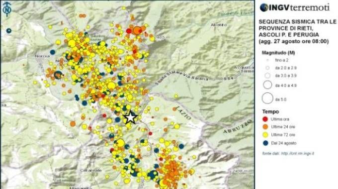 Terremoto, la mappa delle scosse (Twitter, Ingv)