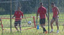 Un allenamento del Pisa a San Piero (foto Valtriani)