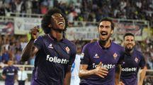 Fiorentina-Chievo, Sanchez esulta dopo il gol (foto Germogli)