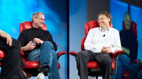 Steve Jobs e Bill Gates (Olycom)
