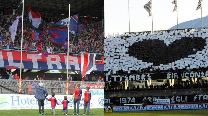 I tifosi della Samb (Sgattoni) e dell'Ascoli (La Bolognese)