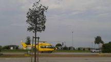 L'elisoccorso al parcheggio del Bennet a Comacchio