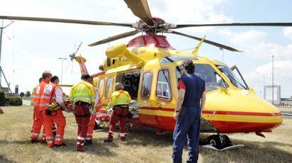 Il bimbo è stato trasportato in elicottero a Bergamo