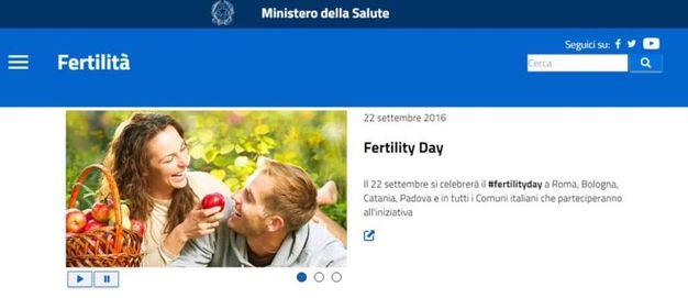 Uno screenshot del sito dedicato al  Fertility Day dal Ministero della Salute. Roma (Ansa)