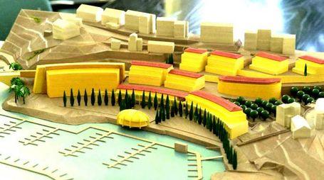 Il plastico con il progetto di sviluppo urbanistico sull'area