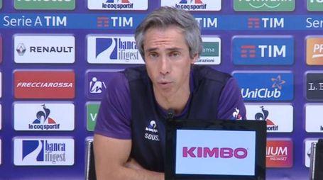 Paulo Sousa durante la conferenza stampa prima di Fiorentina-Milan (da ViolaChannel)
