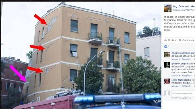 Palazzina crollata a Roma, l'analisi del cedimento su Facebook