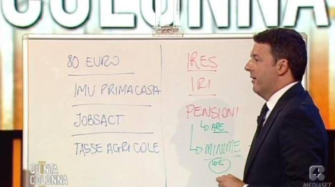Matteo Renzi a Quinta Colonna (Ansa)