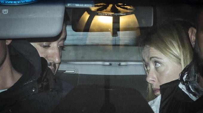 Salvini e Meloni all'uscita di Arcore