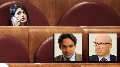 Virginia Raggi, Andrea Mazzillo e Massimo Colomban (Ansa)